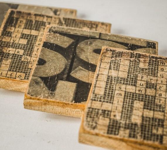 Crossword Puzzle Coasters Wooden Drink Holders Vintage