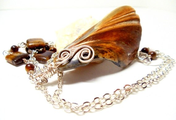 Shell Pendant- Wire Wrapped Pendant- Tiger's Eye Chain- Beach Necklace-Brown Shell Necklace-  Handmade Jewelry Gorgeous