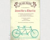 Tandem Bike Vintage Style Invitation - DIY printable file