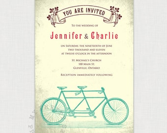 Tandem Bike Vintage Style Invitation - DIY printable file