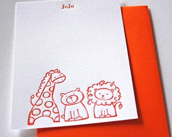 Zoo Personalized Letterpress Stationery Children Card Set