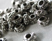 80 Small Silver Flower Pattern Antiqued Spacer Beads, 6mm diameter x 3mm thick,  pkg 80 pieces