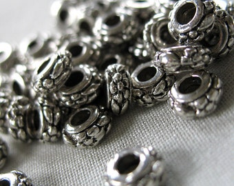 40 Small Silver Flower Pattern Antiqued Spacer Beads, 6mm diameter x 3mm thick,  pkg 40 pieces