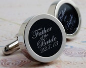 Father of the Bride Cufflinks with Wedding Date, Wedding Party Cufflinks in Elegant Script Lettering