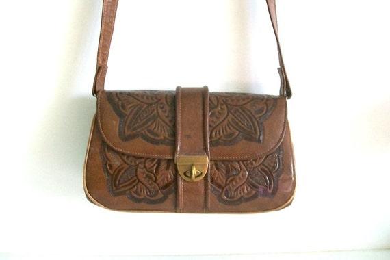 Flores Bags Tooled Leather Shoulder Handbag Purse Mexico boho