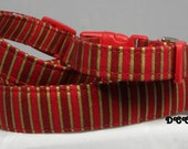 Dog Collar Classic Elegant Red & Gold Stripped Sripe Everyday Adjustable w D Ring Choose Size  Party Birthday Accessory Pet Accessories Pets