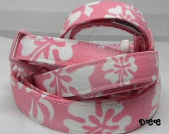 Dog Collar Hawaiian Paradise Tropical Pink White Floral Flower His Hers Adjustable Dogs Collars D Ring Choose Size Accessories Accessory Pet