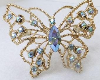 Vintage jewelry brooch by DOODS aurora borealis blue rhinestone butterfly wedding brooch Sale half price