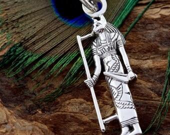Egyptian Cat Goddess Bastet Figure Silver Pendant