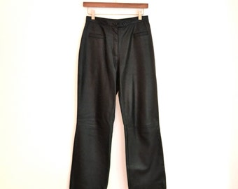 Vintage Black Leather Pants size small medium 90s Made in Italy