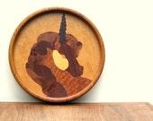 Unicorn  Vintage Wood Marquetry Wall Decor Hanging Medallion