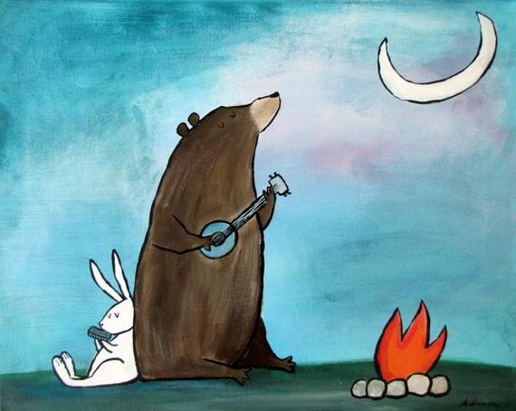 Camping Bear Painting Kids Woodland Room Decor Storybook