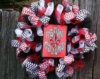 ULL Red, White, and Black Wreath