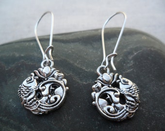Silver lotus koi fish earrings - Silver Earrings - Lotus Jewelry - Fish Jewelry - simple everyday