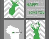 "Gray Chevron Nursery - Deer Silhouette Chevron and State Silhouette Prints - You Are My Sunshine - Nursery Decor - Modern nursery-  8""x10"""