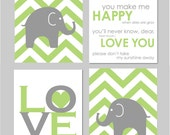 "Gray and Green Modern Nursery Art Set - You Are My Sunshine - Elephant Gray and Green Chevron Nursery Prints - Set of four 11""x14""s"