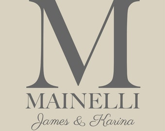 "Personalized Wedding Gift Anniversary Gift Family Monogram Name Print  - Bridal Shower GIft - First Anniversary Paper Gift - 8""x10"""