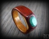 Chakote Kok Bentwood ring with different wood combination, capped with Jade Gem. Using ancient steam method for durable and exclusive ring.