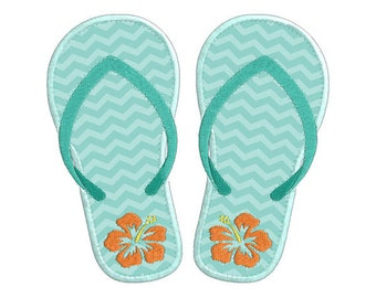 Summer Flip Flop Sandal 1 Individual APPLIQUE Machine Embroidery Designs