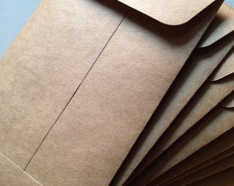 "25 Kraft Envelopes -Size 6 1/2"" x 3 3/4"" Rustic Brown"