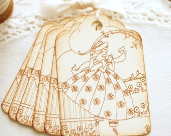 Vintage Gift Tags Little Lady in Sepia Birthday Friendship All Occasion Tags