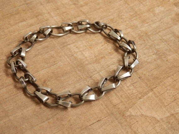 Forged Link Chains : Unisex steel chain bracelet hand forged metal for men or women