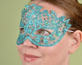 SHEER MASK- Aqua Sequin and Green Gem- masquerade mask, Mardi Gras, ballroom, fairy, Venetian, Halloween, tattoo