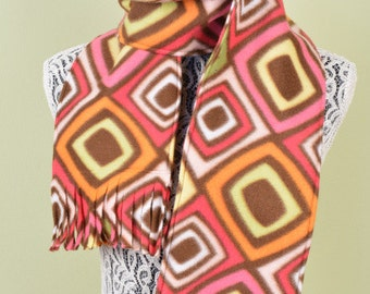 SCARF WITH FRINGE- Pink, Orange and Brown Funky Diamond Print- polar fleece winter scarf