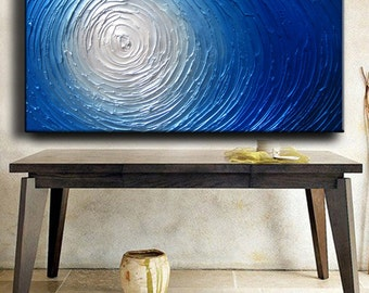 52 x 26 Custom Original Abstract Heavy Texture Blue Silver White Water Carved Oil Painting by Je Hlobik