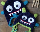 Monster Hat, Monster Crochet Hat, Beanie, Halloween
