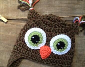 Owl Hat, Owl Crochet Hat, Crochet Beanie, Child