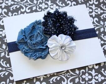 Fancy Denim and White Chiffon, Satin,  Sparkly Rhinestone Headband (Newborn, Toddler, Child)