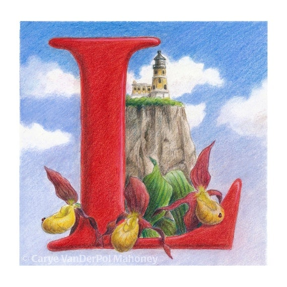 "Letter L monogram with a lighthouse, red and yellow lady slippers, and ladybugs with blue sky - Art Reproduction (Print) - ""L is for LeeAnn"""