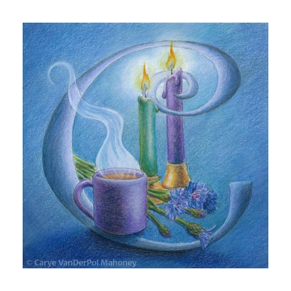 "Letter C monogram with candles, cornflowers, and a cup of coffee all done in blue - Art Reproduction (Print) - ""C is for Cindy"""
