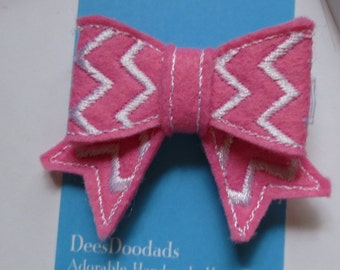 Adorable Pink and White  Chevron Striped  Felt Embroidered Hair Clip - Clippie - Party Favor