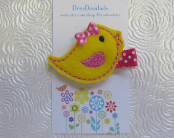 Little Yellow and Hot Pink Birdie Hair Clip - Clippie - Party Favor