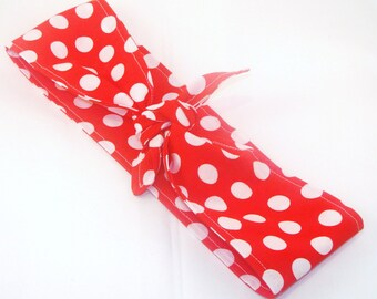 Head Scarf, Red with White Polka Dots Rosie the Riveter 50s Rockabilly Pin Up Headscarf Headband Bandanna