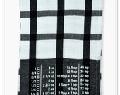 Cotton Kitchen Towel with common baking conversions - Black/White