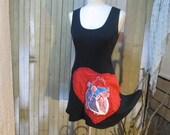 Anatomy dress red Heart medical biology applique Doctor Nurse black mini ooak handmade womens Sundress
