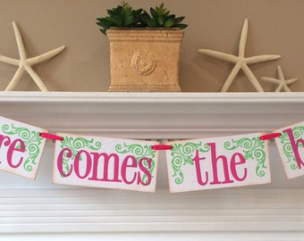 Here Comes The Bride Wedding Banner or Photo Prop / Wedding Sign / Flower Girl / Ring Bearer / Pink and Green