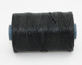 Waxed Irish Linen Thread Black 4 Ply