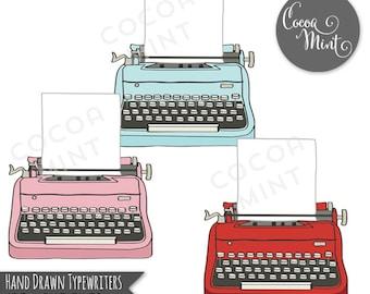 Hand Drawn Typewriters Clip Art