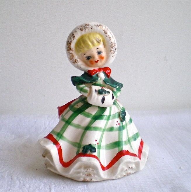 Painting Church In Snow Religious Christmas Ceramic: Vintage Christmas Lefton Girl Figurine Holly Snow