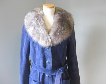 1970s Vintage Royal Blue Suede and Grey Shearling Boho Winter Coat, Bohemian, Glam, Almost Famous