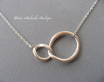Silver Double Link Pendant Necklace, Choker, silver necklace