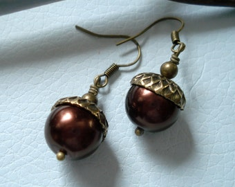 Dark Acorn Brown Pearl Antique Brass  Earrings ONLY -Fall/Autumn Earrings- Bridesmaid Jewelry