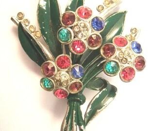 Flower Brooch Enamel and rhinestone forties brooch