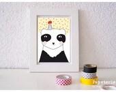 Postcard Greeting Card Illustration Maedchenwahn Party Panda