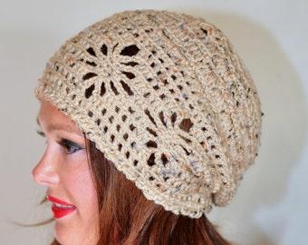 Spring Slouchy Beanie Women Hat Slouchy Beanie Summer Hat CHOOSE COLOR Oatmeal Honey Earth Neutral Crochet Gift under 50