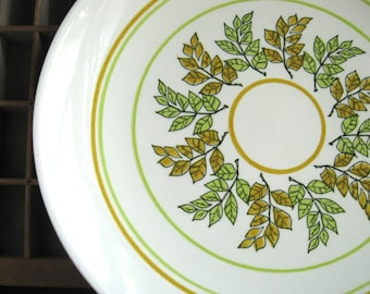 Mid Century Serving Platter Large Plate Orange and Green Leaves